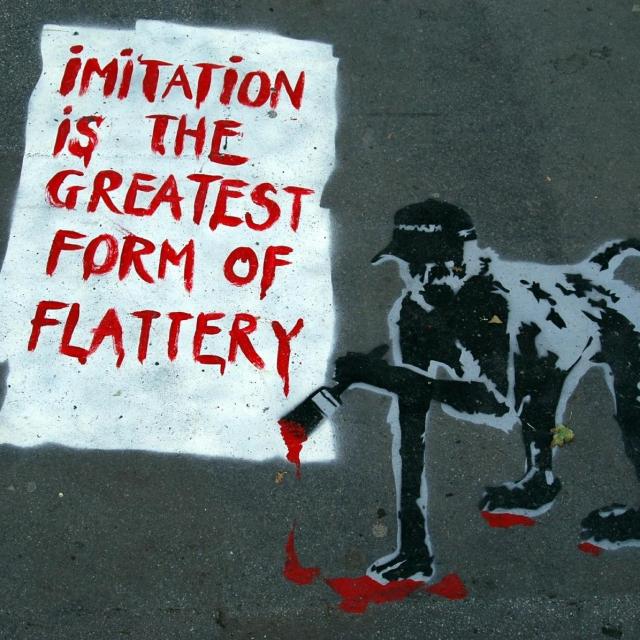 Grafit čiji je autor potencijalno Banksy. Ulaz restorana Vivat Bacchus na Farringdon Road u Londonu/Profimedia