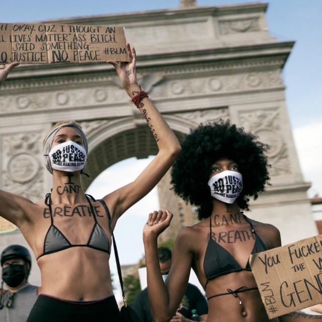 Black Lives Matter protesti, Washington Square Park NY, Lipanj 2020.<br /> Fotografija: Vanja Černjul